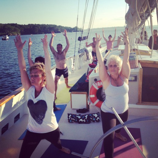 Summer yoga aboard Frances on Casco Bay.
