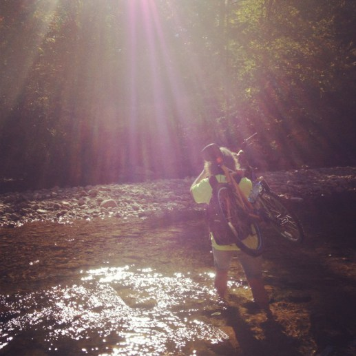 Crossing a stream during a fall bike ride in the White Mountains of New Hampshire (okay, not Maine, but we Mainers can't stay away from those gorgeous mountains).