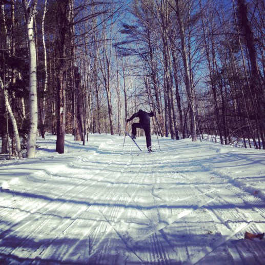 Getting used to skate skis at Harris Farm in Dayton.
