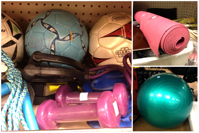 A $3 yoga mat, $2 hand weights and a bunch of other low-price exercise equipment.