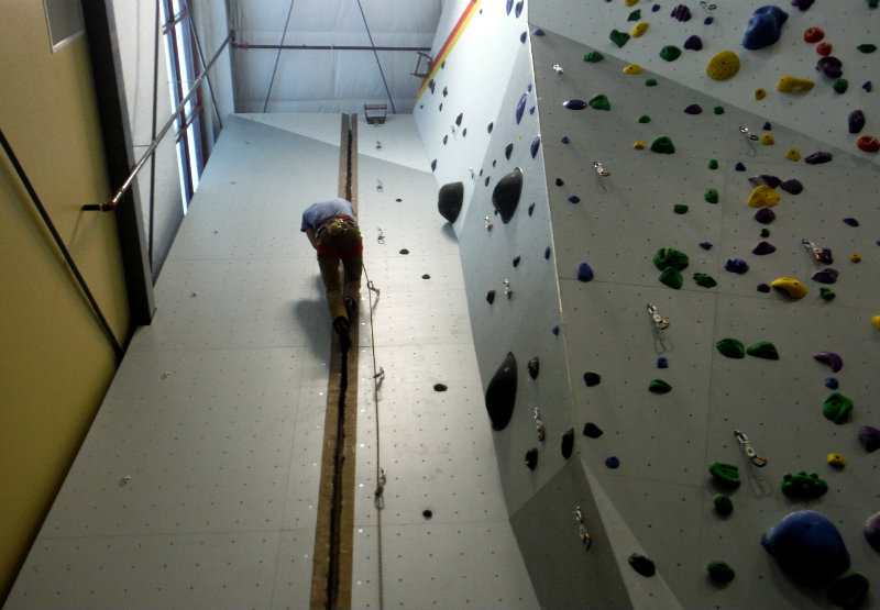 Climbing the crack - I'm impressed. Shannon Bryan