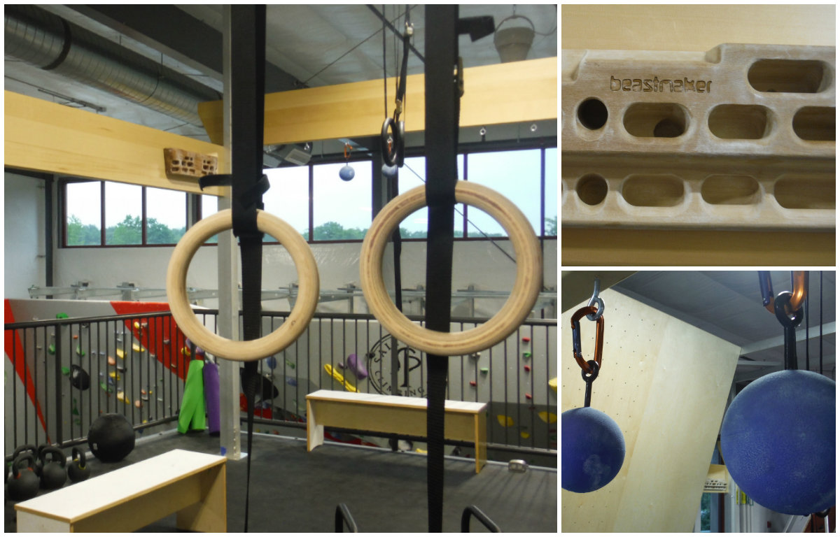 The upstairs fitness area has equipment to help you strengthen the all-important finger grip, like fingerboards and training balls. Shannon Bryan photos.