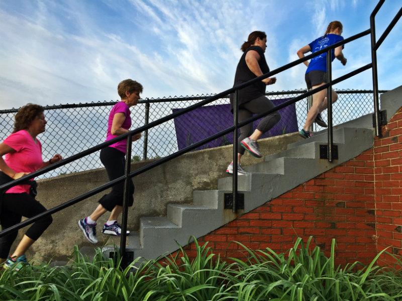 The warmup walk/run around the high school during Maine Boot Camp. Shannon Bryan photo