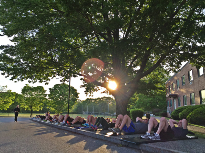 Crunches in the morning during Maine Boot Camp at Cheverus High School, Portland. Shannon Bryan photo