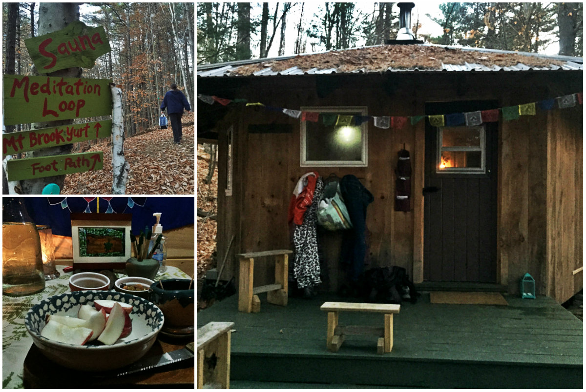 On the trail to the sauna at Nurture Through Nature in Denmark. Lower left: salty almonds and olives and water to help replenish all you'll sweat out. Shannon Bryan photos