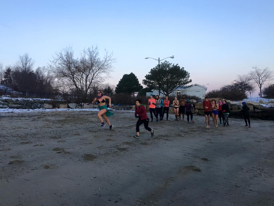 Beach sprints in December. Sometimes in swimsuits. Photo courtesy Portland Sweat Project