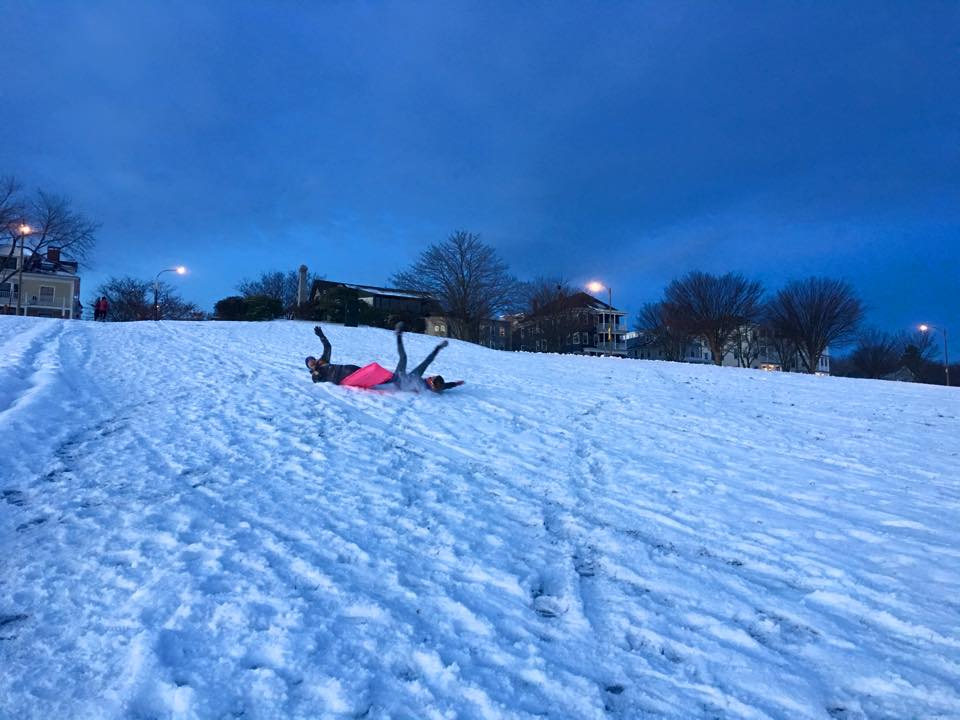 Sledding. Sometimes you fall out. Photo courtesy Portland Sweat Project