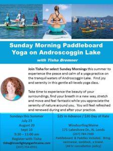 Paddleboard yoga on Androscoggin Lake @ Windsurfing Maine | Leeds | Maine | United States