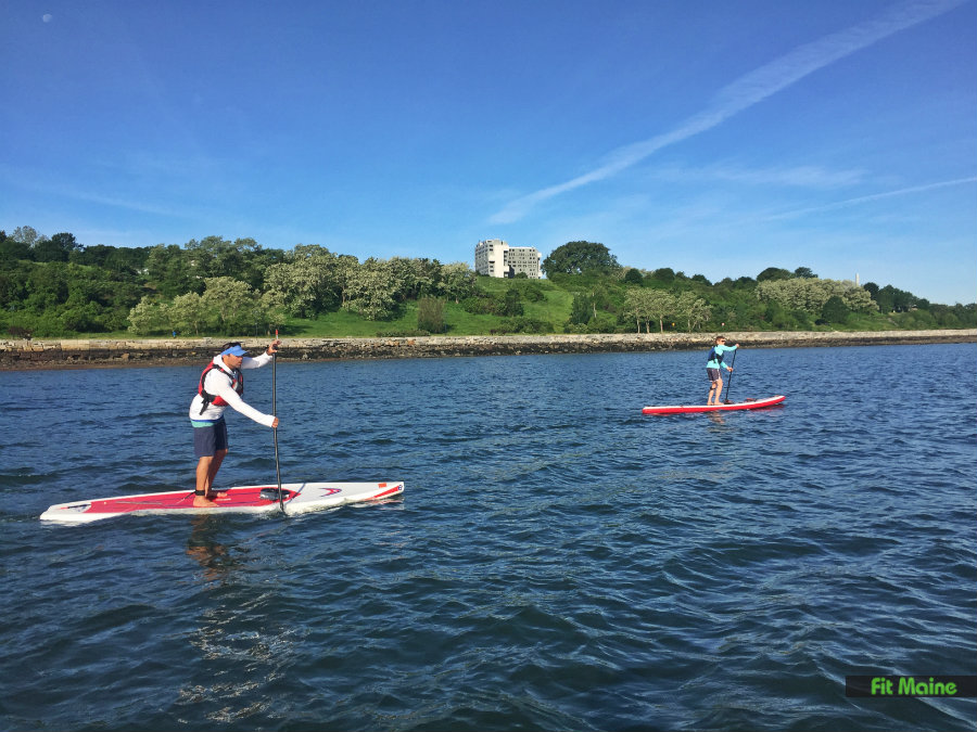 Paddleboarding off Portland's East End
