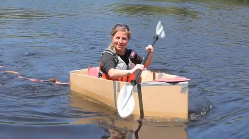 The carboard boat during its inaugural - and only - voyage in 2011. Video still
