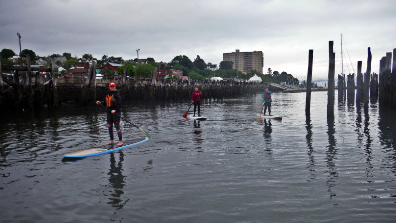 Even when the skies are gray, the paddlers are happy.