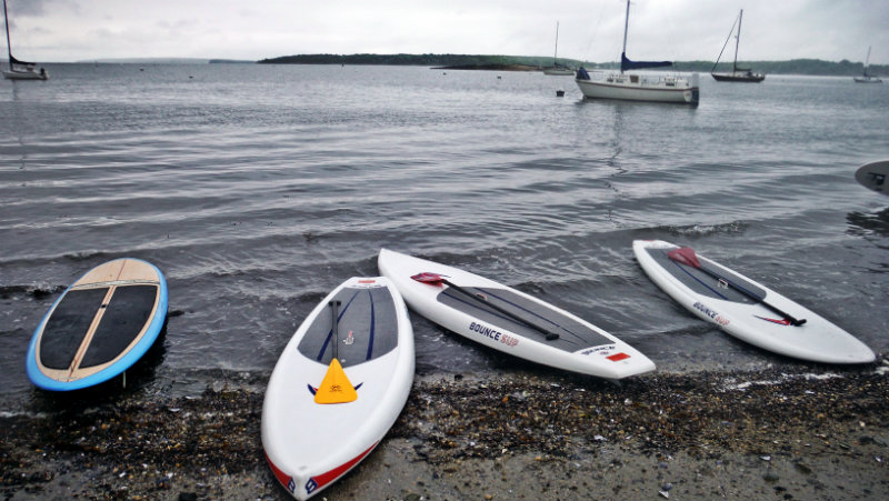 The paddleboards are ready! The Tuesday night group launches from East End Beach in Portland.