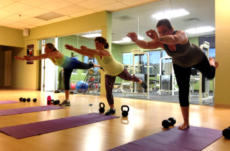 The Warrior Moms getting their balance on during a recent class. Shannon Bryan photo