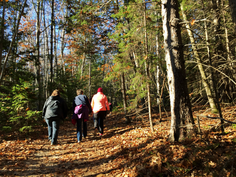 Three women on the trails at Wolfes Neck State Park. Shannon Bryan photo