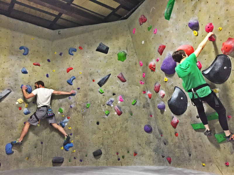 The bouldering walls are a great place to practice - or to hang out if you'd like to keep your climbing close to the ground. Shannon Bryan
