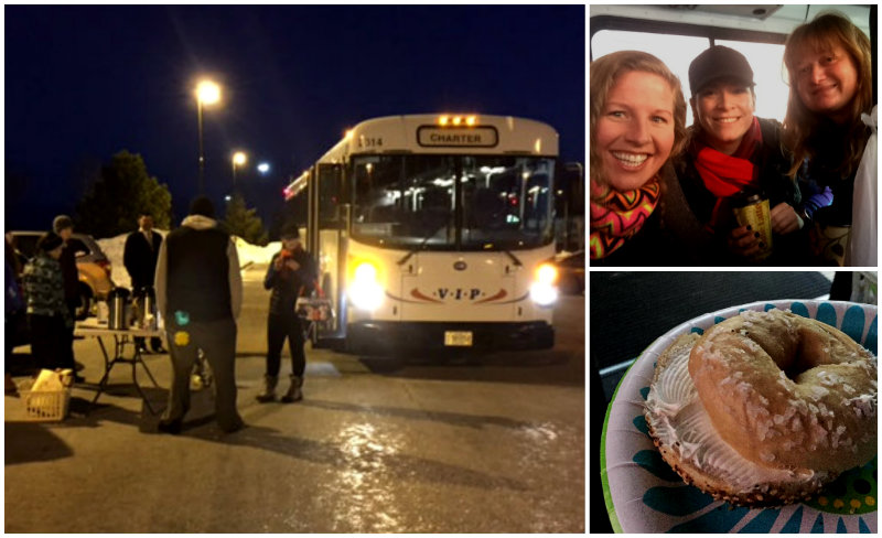 The bus before dawn. It was very dark out still, but hey, look! Bagels and coffee! Shannon Bryan photos (except the bagel one. I ate mine too fast. That's a Mainely Ski & Ride photo).