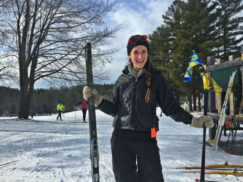 Cara poses for a pre-ski photo outside the Nordic Ski Center at The Bethel Inn. Shannon Bryan photo