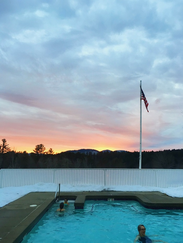 Winter sunset from a heated outdoor pool! Cara Slifka photo.