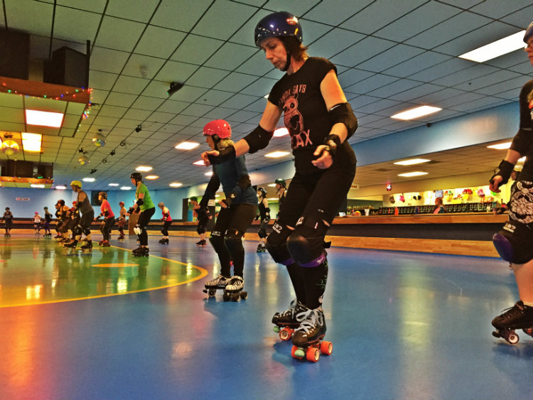 Skaters work on skills during Derby Lite. Shannon Bryan photo