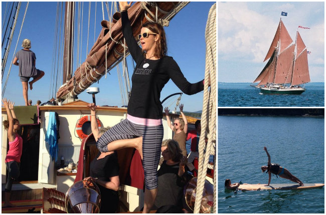 Brend Cyr leads yoga aboard Angelique and on paddleboards during this getaway. Photos courtesy Windjammer Angelique