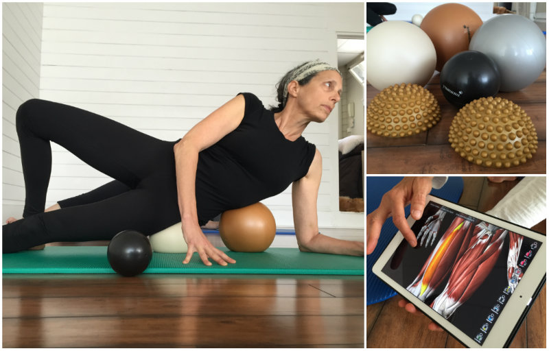 Left: Putting the white ball to work on the left hip during a recent Yamuna Body Rolling class at Willard Beach Studio. Right top: An array of body rolling balls of various sizes. Bottom right: Brenda has an awesome app that shows you what muscles and tendons you're working. Shannon Bryan photo