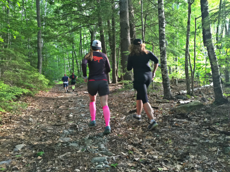 Emily and Beth running the trail during Monday Night Dirt. Doesn't the light look splendid?! Shannon Bryan photo
