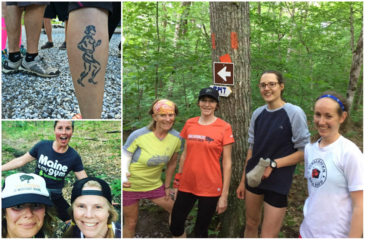 Upper left: One badass tattoo! Shannon Bryan photo. Lower left: Beth, Emily and I on the trail. We look so happy, right? Photo courtesy Beth Wilkas Feraco. Right: Some of the, ahem, fast folks on the trail. Photo courtesy Mariah Lussier‎