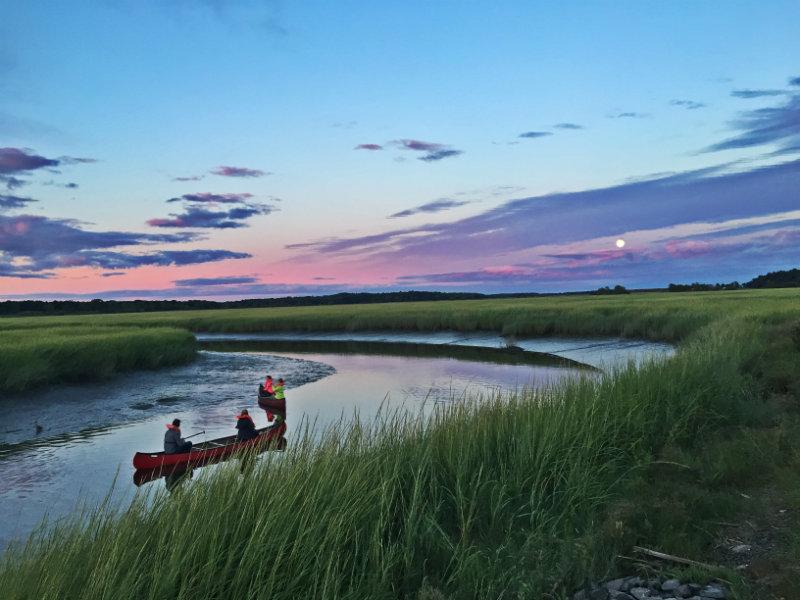 Sunset and full moon canoe tours on the Scarborough Marsh with Maine Audubon