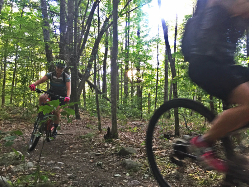 Emily Helliesen rides the trails at Bradbury during a Monday night group ride with the Single Track Sisters. Shannon Bryan photo