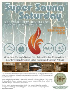 Super Sauna Saturday @ Nurture Through Nature Retreat Center | Denmark | Maine | United States