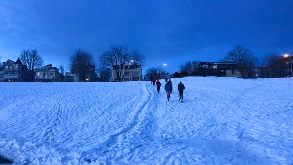 Running up the East End hill with Portland Sweat Project this December. Photo courtesy Portland Sweat Project