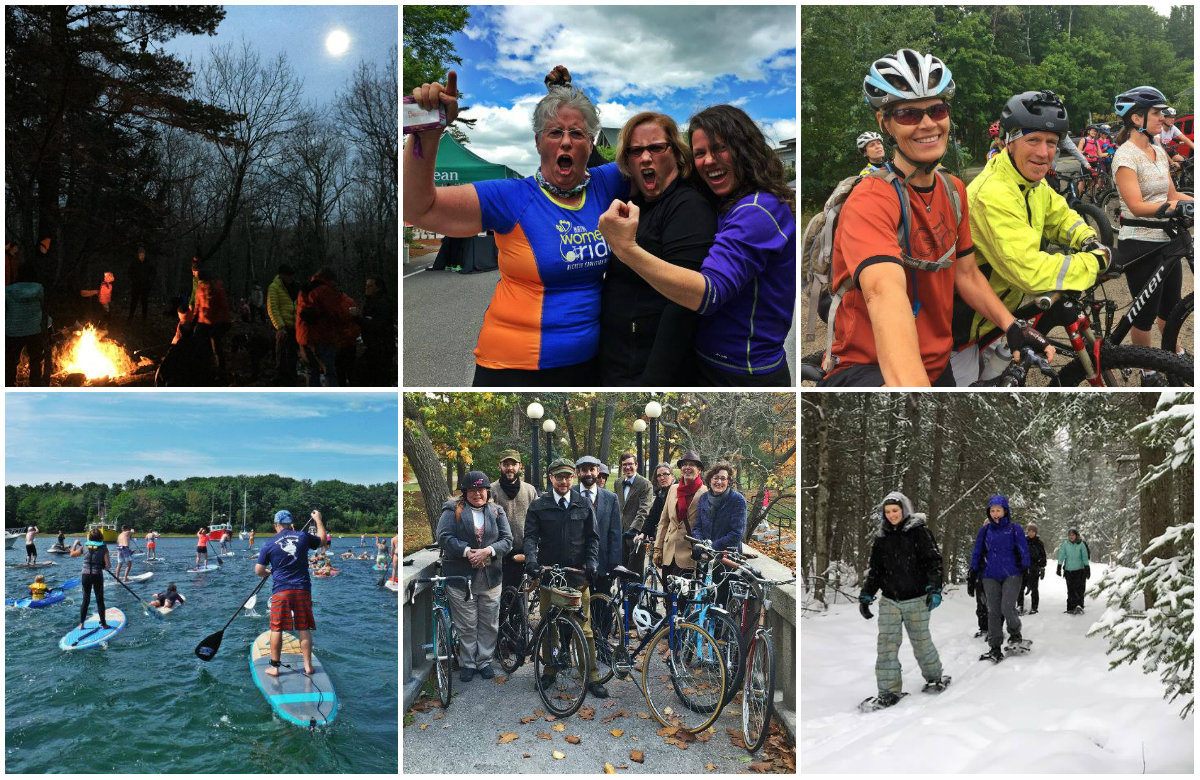 Top row, from left: Full moon snowshoe, Maine Women's Ride, and Bikes and Brews. Bottom row: Paddle Battle, Tweed Ride and Maine Yoga Adventures. Shannon Bryan photos