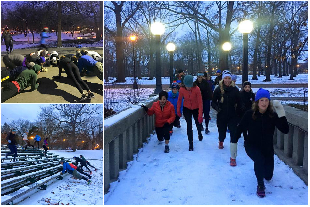 A snowy workout in Deering Oaks this December. Photos courtesy Portland Sweat Project