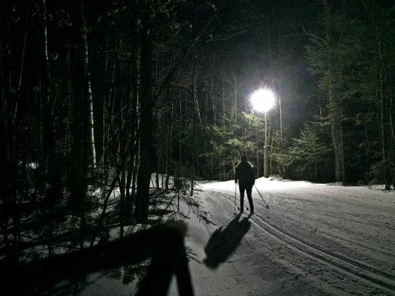 Cross-country skiing at night at Titcomb Mountain