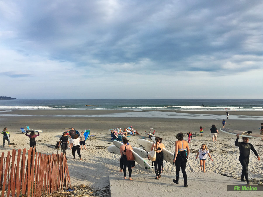 heading to the beach - surfing lesson with Maine Surfers Union