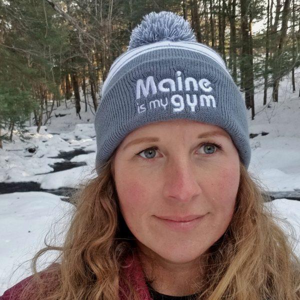maine is my gym winter hat with pom pom