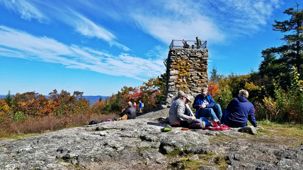 Short hike + stone lookout tower on Douglas Mountain in Sebago