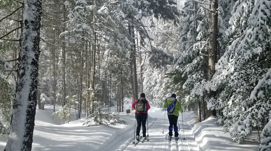 Cross-country skiing + cozy cabins on Moosehead Lake at The Birches Resort in Rockwood