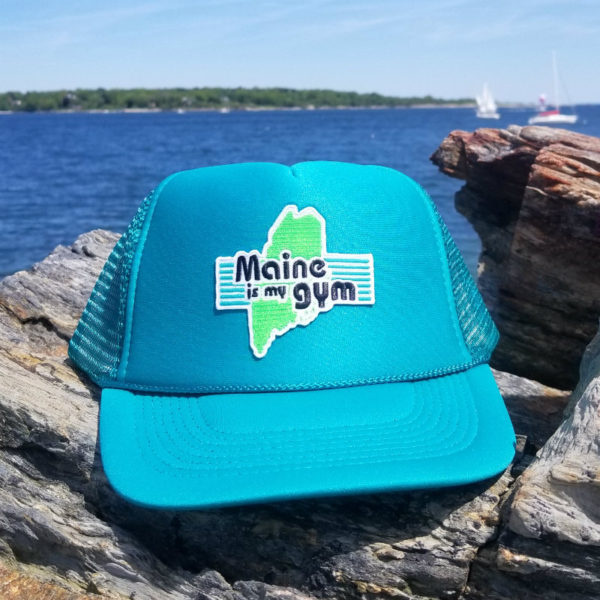 "bb1a7a1f ""Maine is my gym"" Trucker Hat – Teal"